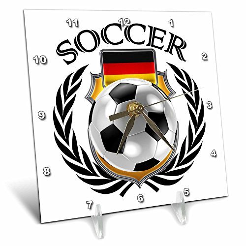 3D Rose Germany Soccer Ball with Fan Crest Desk Clock, 6'' x 6'' by 3dRose