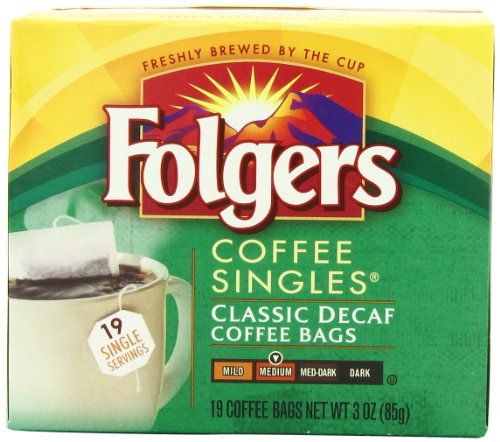 Folgers Classic Medium Roast Decaf Coffee, 19 Count Singles Serve (Pack of 6)