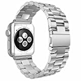 ImmSss Apple Watch Band 38mm 42mm,Stainless Steel Metal Replacement Band Apple Watch Series 3 Series 2 Series 1 Sport Edition (3Blade-Silver, 38MM)