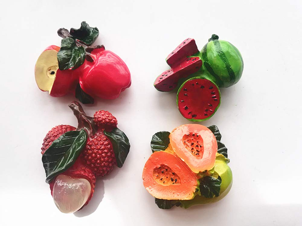 4 Cute Lifelike Fruit 3D Fridge Magnet,Including Apple, Watermelon, Lychee,Papaya,Creative Home & Kitchen Decor Resin…