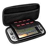 Pecham Travel Carrying Case for Nintendo Switch - Protective Storage Bag with 8 Game Holders - Black
