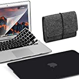 GMYLE 4 in 1 MacBook Air 13 Bundle Black Matte Set Plastic Hard Case Cover, Felt Storage Pouch Bag with Keyboard Skin, Screen Protector for MacBook Air 13 inch (A1369/A1466)