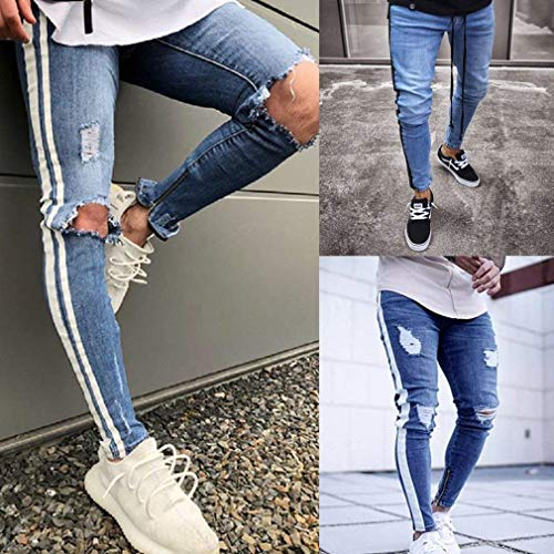 Scoiattolo Spezzati Tasche Blu Con Mode Uomo Pantaloni E Bolawoo Dunkelblau Chiusura Bucati Di Skinny Jeans Marca Leggings Fori Piccoli Scuro Lunghi ZTWZzp8n