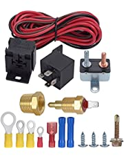 TURN RAISE 175-185 Degree Engine Electric Cooling Fan Thermostat Temperature Switch, Cooling Fan Thermostat Switch, 60Amp Sensor Relay New kit