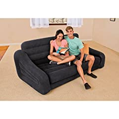 Built for versatility, the Intex Pull-Out Sofa is designed for relaxing just about anywhere, whether you are camping or at home. Watch TV, read a book, or just relax with a friend and then pull out the cushion into a queen size air mattress w...