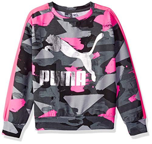 PUMA Big Girls' Fleece Pullover, Iron gate L