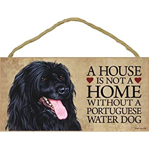 """SJT ENTERPRISES, INC. A House is not a Home Without a Portuguese Water Dog Wood Sign Plaque 5"""" x 10"""" (SJT30109) 42"""