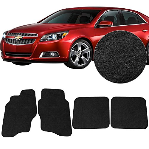 Malibu Carpet Chevrolet - Floor Mats Fits 2014-2016 Chevrolet Malibu | Black Nylon Flooring Protection Interior Carpets by IKON MOTORSPORTS | 2015