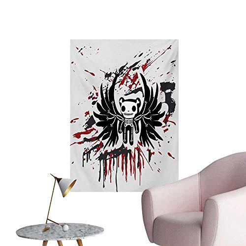 Anzhutwelve Halloween Wallpaper Teddy Bones with Skull Face and Wings Dead Humor Funny Comic Terror DesignPearl Black Ruby W24 xL32 Wall Poster]()
