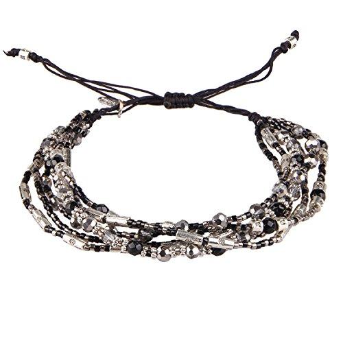 Crystal Onyx Seed Beaded Cluster Multi-strand Bracelet Rope -