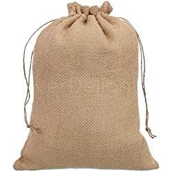 "CleverDelights 10"" x 14"" Burlap Bags with Natural Jute Drawstring - 50 Pack - Large Burlap Pouch Sack Favor Bag for Showers Weddings Parties and Receptions - 10x14 inch"