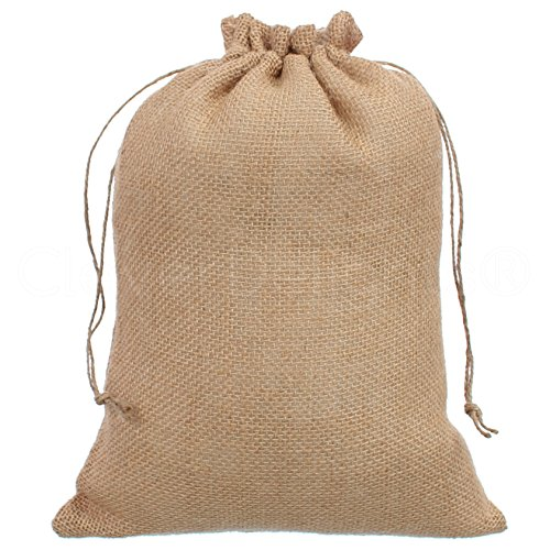 CleverDelights 10'' x 14'' Burlap Bags with Natural Jute Drawstring - 50 Pack - Large Burlap Pouch Sack Favor Bag for Showers Weddings Parties and Receptions - 10x14 inch by CleverDelights (Image #2)'
