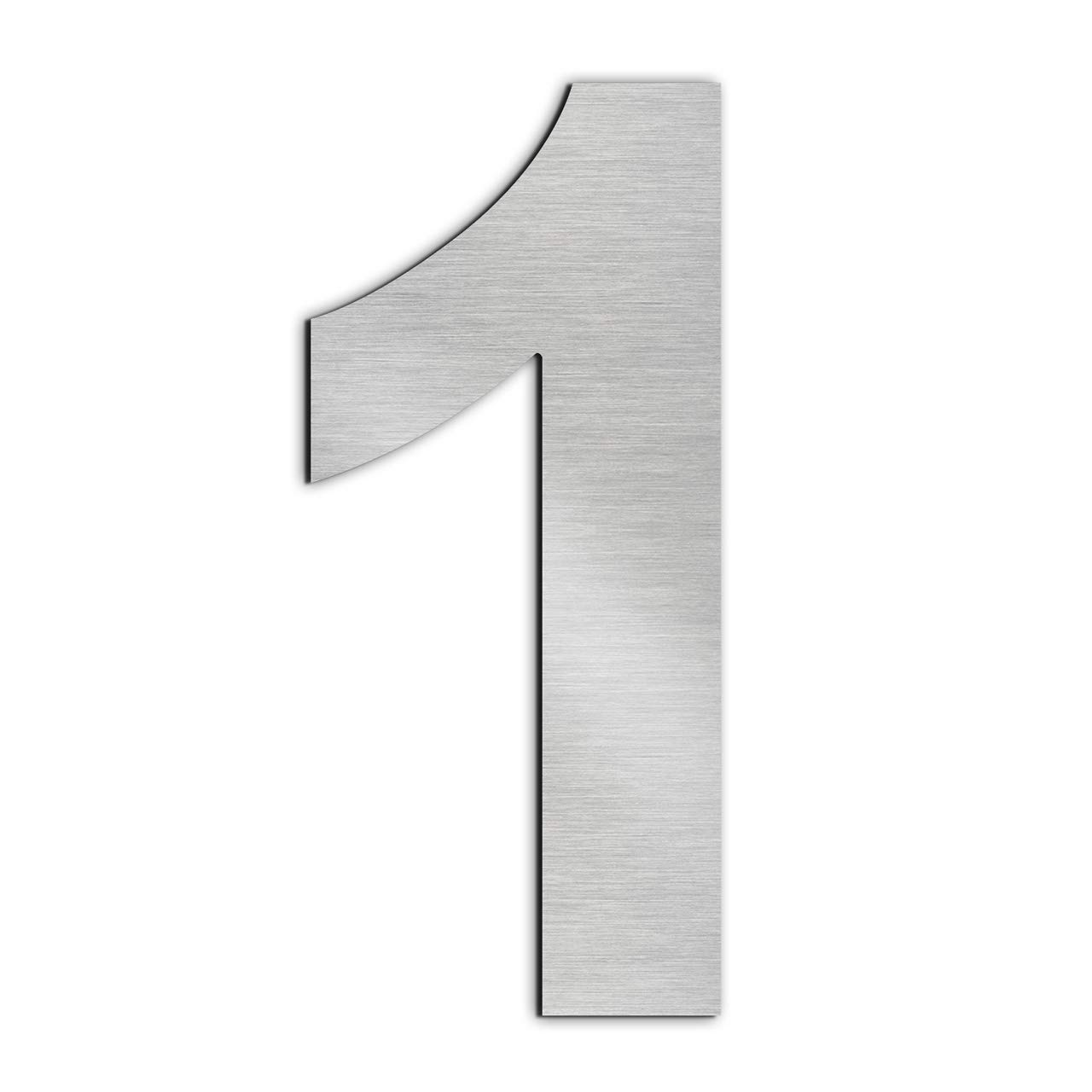 GFDesign Modern House Number 1 Floating Home Address Numerals Sign Plaque Heavy Duty Mount for Home Hotel Office Brushed Nickel Solid 304 Stainless Steel - 6 inches