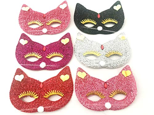 Butterfly Cat Masks Kitten Masks Halloween Kitty Party Kids Costumes Cosplay Photo Prop Dress Up Pack of 6 pcs. (Cat)]()
