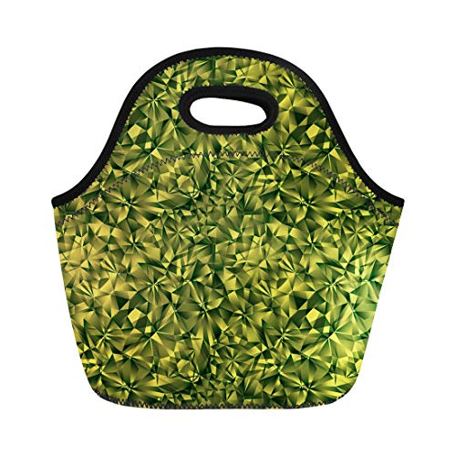 Facet Emerald - Semtomn Lunch Bags Small Green Facet Emerald Gem Jewel Abstract Artistic Beautiful Neoprene Lunch Bag Lunchbox Tote Bag Portable Picnic Bag Cooler Bag