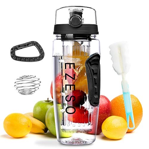 Fruit Infuser Bottle - 32 OZ BPA-Free Sports Bottle - Removable Infusion Rod, Leak Proof Flip Top Lid, Fruit Infuser Water Bottle with Time Marker Ideal for Your Office and Home(Black)