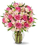 Benchmark Bouquets Charming Roses & Alstroemeria, With Vase Deal