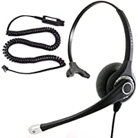 InnoTalk Headset for Avaya 5620 5621 5625 6416 6424 QE4610 9404 9406 9408 9504 9508 - HIC QD Cord + Noise Cancel Supersonic Monaural Information Desk Phone Headset