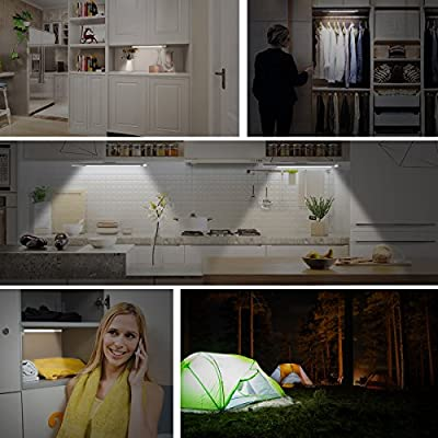Motion Sensor Closet Light, Upgraded Rechargeable 39 LED Wardrobe Light Stick-on Anywhere Under Cabinet Lighting/Hallway / Closet/Night Light Bar, 2 Sensor Mode (Only Motion, Motion & Light)