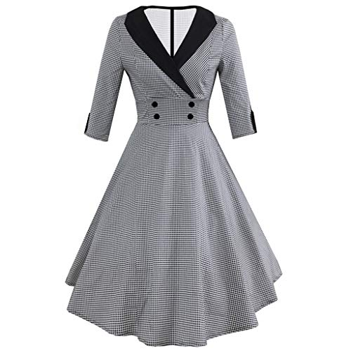 Toaimy Fashion Womens 3/4 Sleeve Vintage Dress Dot Print Retro Ball Gown Swing ()