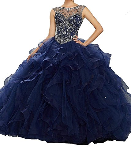 Jurong Women's Appliques High Neck Beads Long Pageant Quinceanera Dresses ()