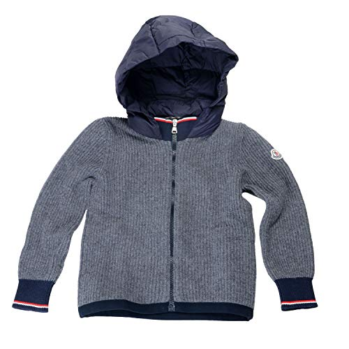 Moncler Kid's Gray 100% Wool Knitted Hooded Sweater Jacket Sz US 14Years IT 14A ()