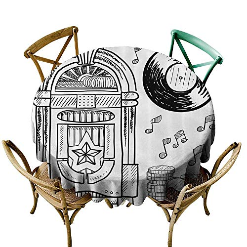 Fashions Table Cloth Jukebox Doodle Style Retro Music Box Notes Coins Long Play Vintage Sketchy Artwork It's Good to be Home Gorgeous High End Quality 43 INCH Black and -