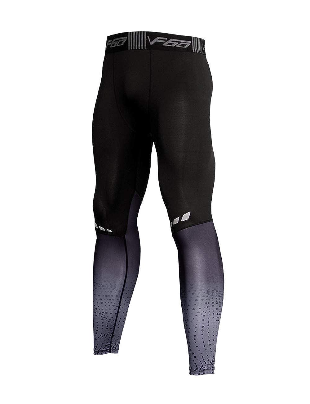 Musclealive Uomo Palestra Bodybuilding Compressione Gambale Collant Allenarsi Fitness Pantaloni Livello Base Freddo Secco