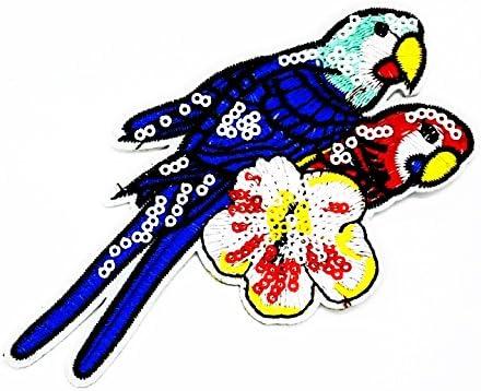 MNC parche pájaro loro flores parche hierro en coser en Cartoon ...