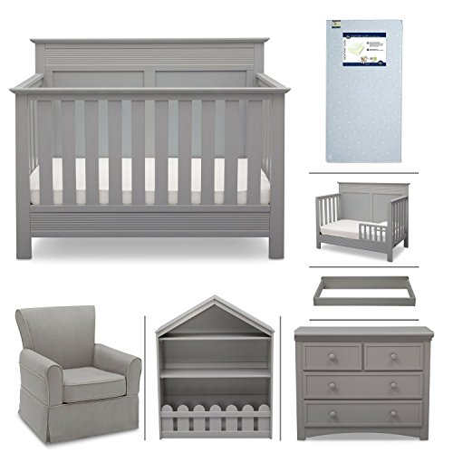 Crib Furniture - 7 Piece Nursery Set with Crib Mattress, Convertible Crib, Dresser, Bookcase, Glider Chair, Changing Top, Toddler Rail, Serta Fall River - Gray/Dove Gray