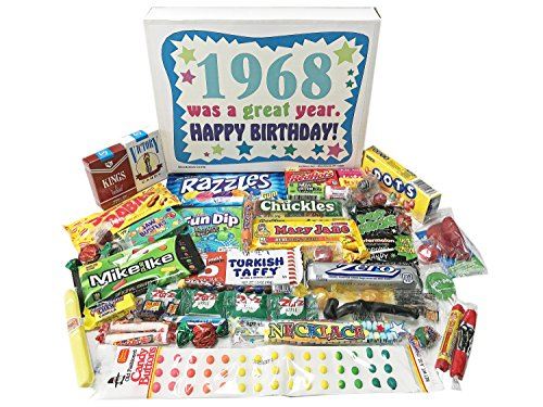 Woodstock Candy 1968 50th Birthday Gift Box Vintage Nostalgic Retro Assortment From Childhood For 50 Year Old Man Or Woman Born