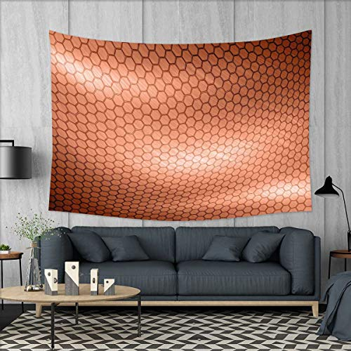 smallbeefly Abstract Wall Tapestry Hexagonal Comb Mesh Pattern with Abstract Wave Motion Effect Geometric Image Print Home Decorations for Living Room Bedroom 80''x60'' Pale Rust by smallbeefly