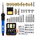 Wood Burning Kit,EletecPro 37Pcs Soldering Iron Set Adjustable Temperature With Soldering iron pen, 15 x Wood Burning Tips, 16 x Soldering Tips, 2 x Stencil, Converter, Stand and Carryi