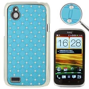 Luxury Bling Diamond Plating Skinning Plastic Case Cover Carcasa Para HTC Desire V T328W/(Baby Blue)