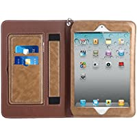 iPad 2 3 4 Sleeve Case Cover, Abestbox Multi Function Flip Leather Case [Auto Sleep/Wake] Portable Travel Bag with Card Slots Stand for iPad2 / iPad3 / iPad4 (Khaki)