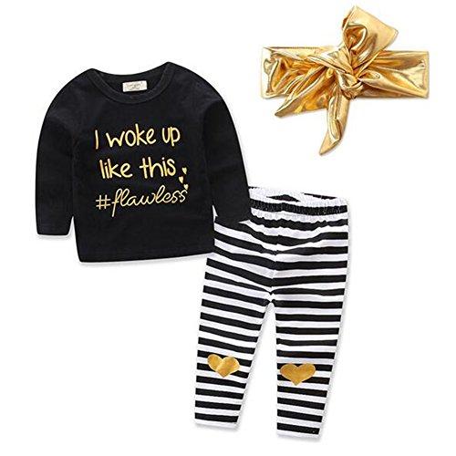 3Pcs Suit Set,Letter Printed Black Top+Stripe Pants+Gold Headband For Baby Toddler Girl (12-18 Month, Black) (Beautiful Girls Clothing)