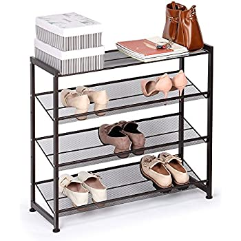 4-Tier Metal Shoe Rack Adjustable Shoe Organizer Utility Storage Rack Holder Stand Shelves for  sc 1 st  Amazon.com & Amazon.com: 4-Tier Metal Shoe Rack Adjustable Shoe Organizer Utility ...