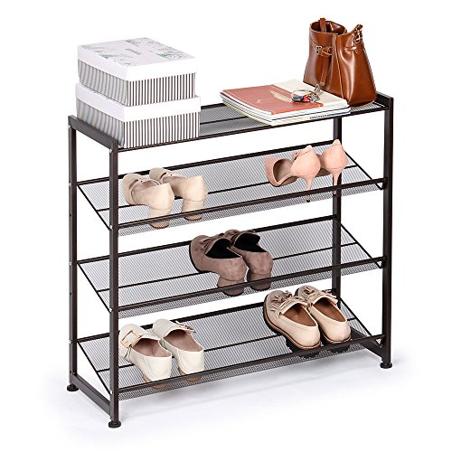 NEX 4-Tier Metal Shoe Rack Flat & Slant Adjustable Shoe Organizer Holder Stand Shelves for Closet Entryway, Mesh Bronze