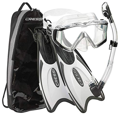 Cressi CRS-PLF3WC-BKWT-ML Italian Design Palau Long Adjustable Snorkeling Fin Flippers with Liberty Panoramic View Mask Dry Snorkel Set (Metallic Black White, M/L | US Man 7/10 | Womens 8/11)
