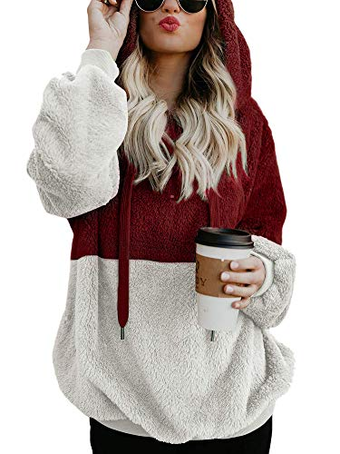 Nvxiyya Women Winter Loose Baggy Sherpa Fleece Sweater with Hooded Colorblock Sweatshirts with Pockets Wine M - Denim Hooded Pullover