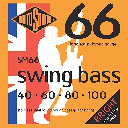 Rotosound SM66 Swing Bass 66 Stainless Steel Hybrid Bass Guitar Strings (40 60 80 100) Rotosound Swing Bass