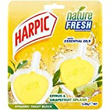 Harpic Active Fresh Hygienic Toilet Block Cleaner Twin Pack, Citrus, 80 g