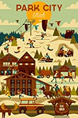 This original high-quality art print from Lantern Press boasts sharp detail and vivid imagery of Park City, Utah - Ski Resort - Geometric (12x18 Fine Art Print, Home Wall Decor Artwork Poster). Printed on heavy stock paper using a high-end di...