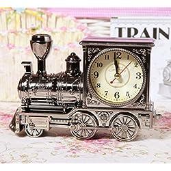 Retro Train Creative Alarm Clock Vintage Simulation Steam Train Quartz Alarm Clock Decor Gift by Superjune (Black)