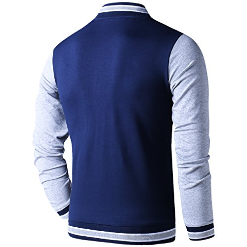 LTIFONE Mens Lightweight Varsity Jacket Button Down Baseball College Letterman Jacket(Blue,L) by LTIFONE (Image #1)