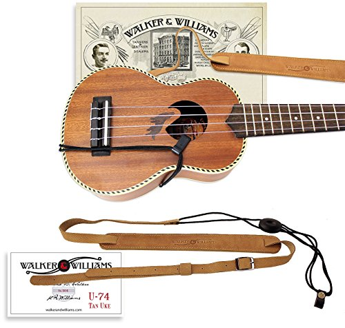 Walker & Williams U-74 Soft Leather Ukulele Strap Adjustable for Most Soprano Ukes