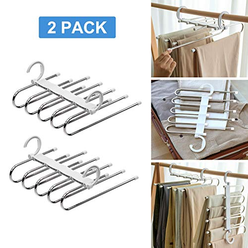 SOSOPIN Space Saving Pants Hangers Non-Slip Clothes Organizer 5 Layered Pants Rack for Scarf Jeans Trousers (White, 2 Pcs)