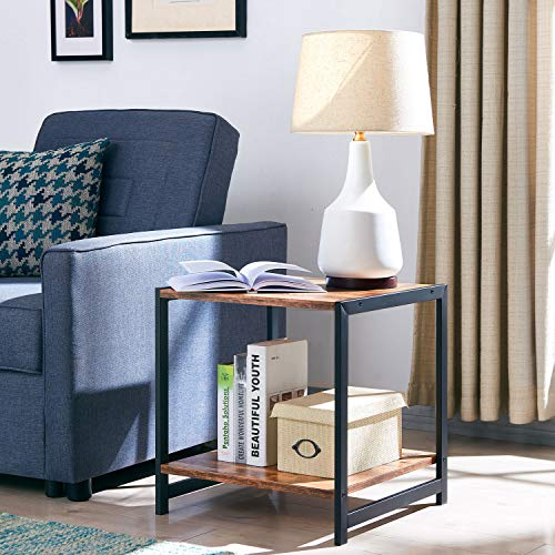 AMOAK Nightstand,2-Tier End Table for Living Room, Industrial Side Table with Storage Shelf, Vintage Style Wooden Board, Stable Metal Frame, Rustic Brown