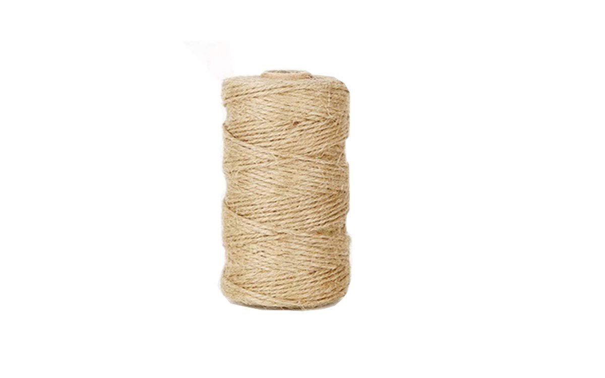 Bersun 328 Feet Jute Twine - 2 Ply Premium Natural Twine - String Rope Bulk Roll Cone Industrial Packing Materials Packing String for Craft Decor Gift DIY (1Pcs)