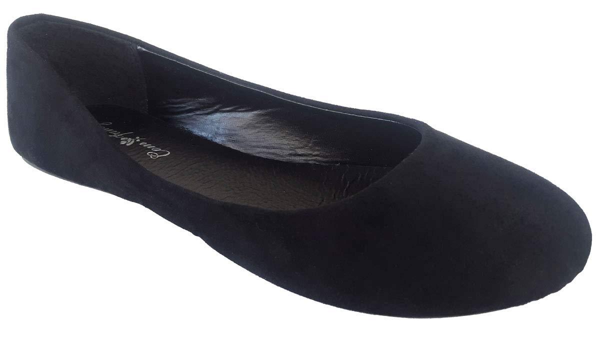 J.J. Elegant Women's Faux Suede Black Ballet Flat Slip On Shoes 7.5, M US